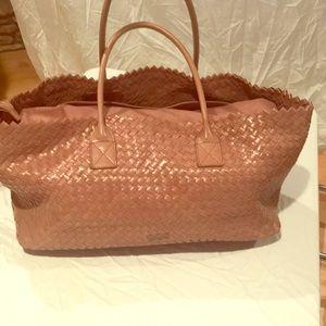 Large Rose leather weave tote/shoulder bag.